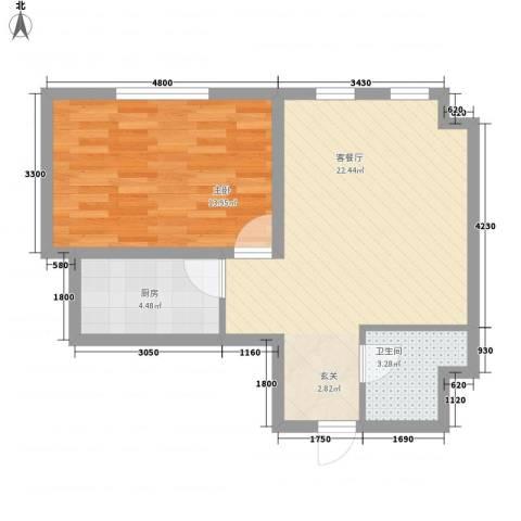 常青天地1室1厅1卫1厨63.00㎡户型图