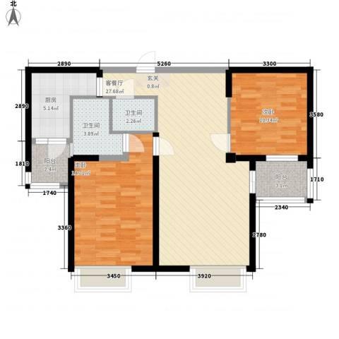 泰禾红树林2室1厅2卫1厨100.00㎡户型图