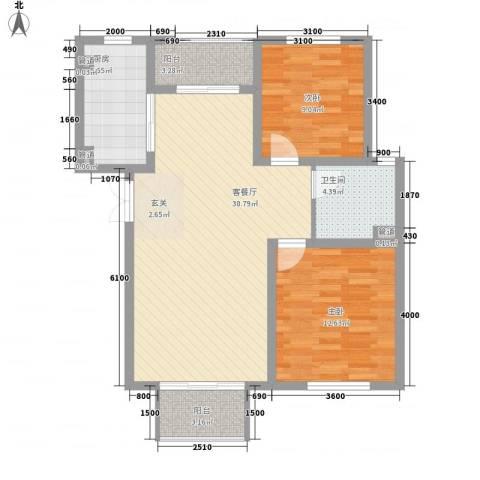 中太・阳光半岛2室1厅1卫1厨102.00㎡户型图