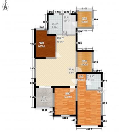 青鸟中山华府3室1厅2卫1厨137.00㎡户型图