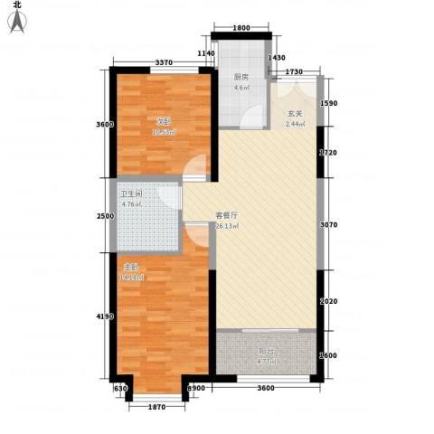 常青天地2室1厅1卫1厨92.00㎡户型图