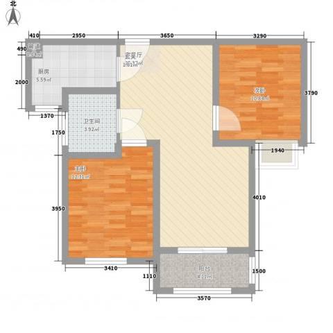 晶龙湾名苑2室1厅1卫1厨89.00㎡户型图
