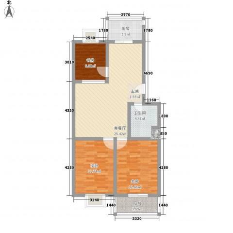 花园南小区3室1厅1卫1厨99.00㎡户型图
