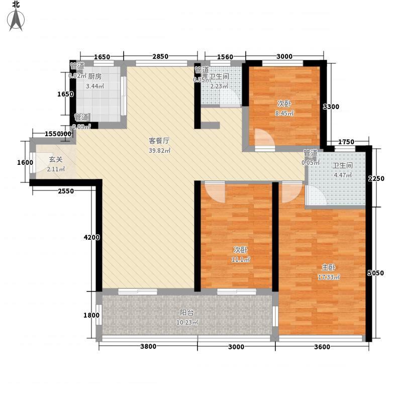 皖新・朗诗绿郡项目132.00㎡E户型3室2厅2卫1厨