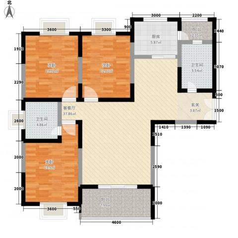 龙居山庄3室1厅2卫1厨149.00㎡户型图