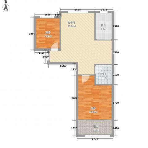富氏壹号公馆2室1厅1卫1厨86.00㎡户型图