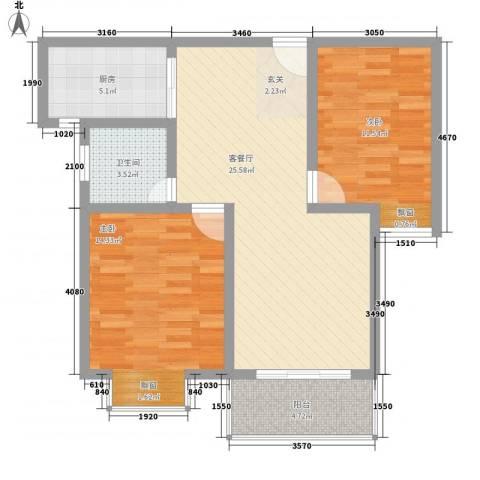 时代茗苑2室1厅1卫1厨93.00㎡户型图