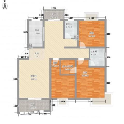 学林雅苑3室1厅2卫1厨152.00㎡户型图