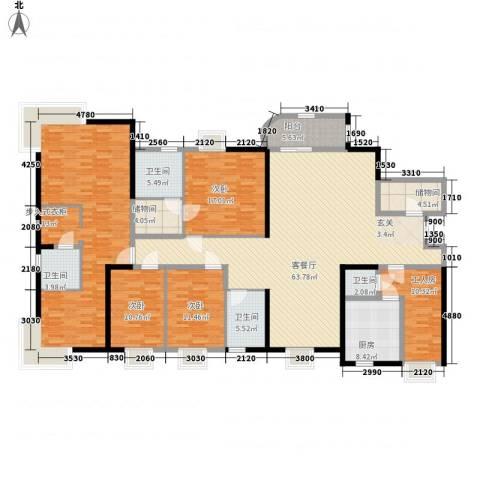 莲花苑3室1厅4卫1厨216.00㎡户型图