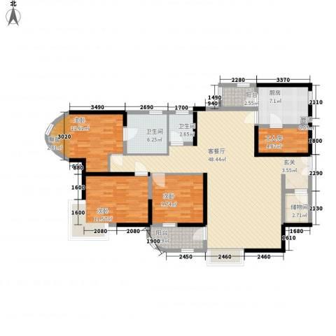 莲花苑3室1厅2卫1厨162.00㎡户型图
