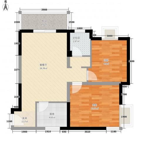 学林雅苑2室1厅1卫1厨88.00㎡户型图