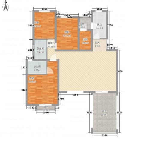 现代经典花园4室1厅2卫1厨180.00㎡户型图