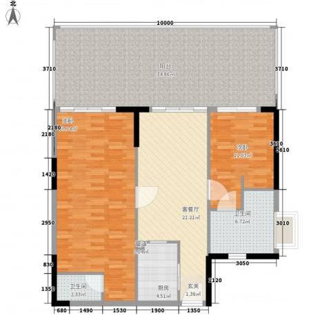 KPR佳兆业广场2室1厅2卫1厨148.00㎡户型图