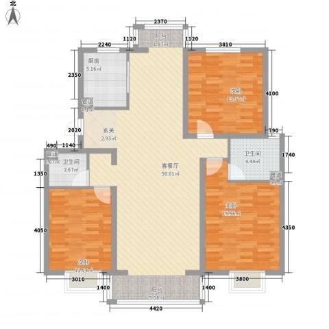 常青天地3室1厅2卫1厨146.00㎡户型图