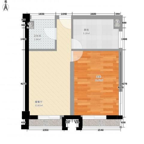 馥邦商务广场1室1厅1卫1厨51.00㎡户型图