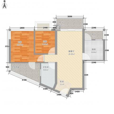 雍翠雅园2室1厅1卫1厨89.00㎡户型图