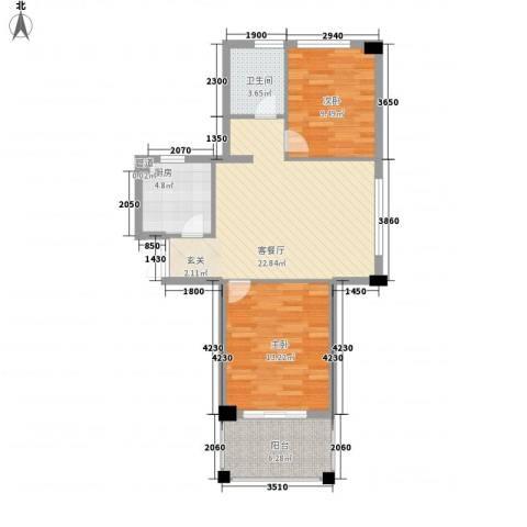 康恒悦麒美寓2室1厅1卫1厨85.00㎡户型图