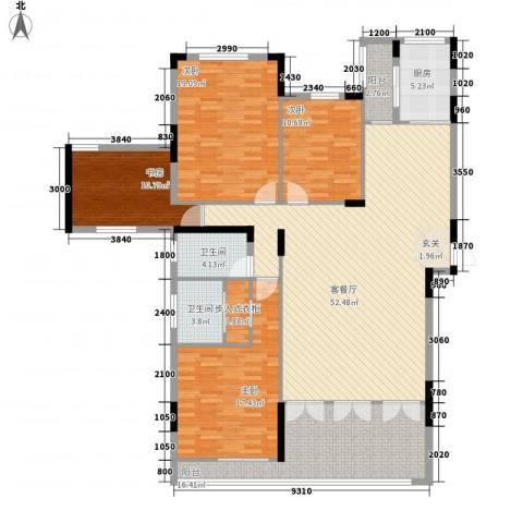 鲁能星城一街区4室1厅2卫1厨144.68㎡户型图