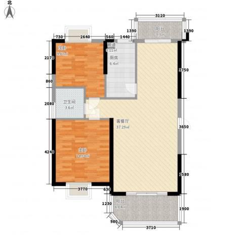 新景翡翠苑2室1厅1卫1厨115.00㎡户型图