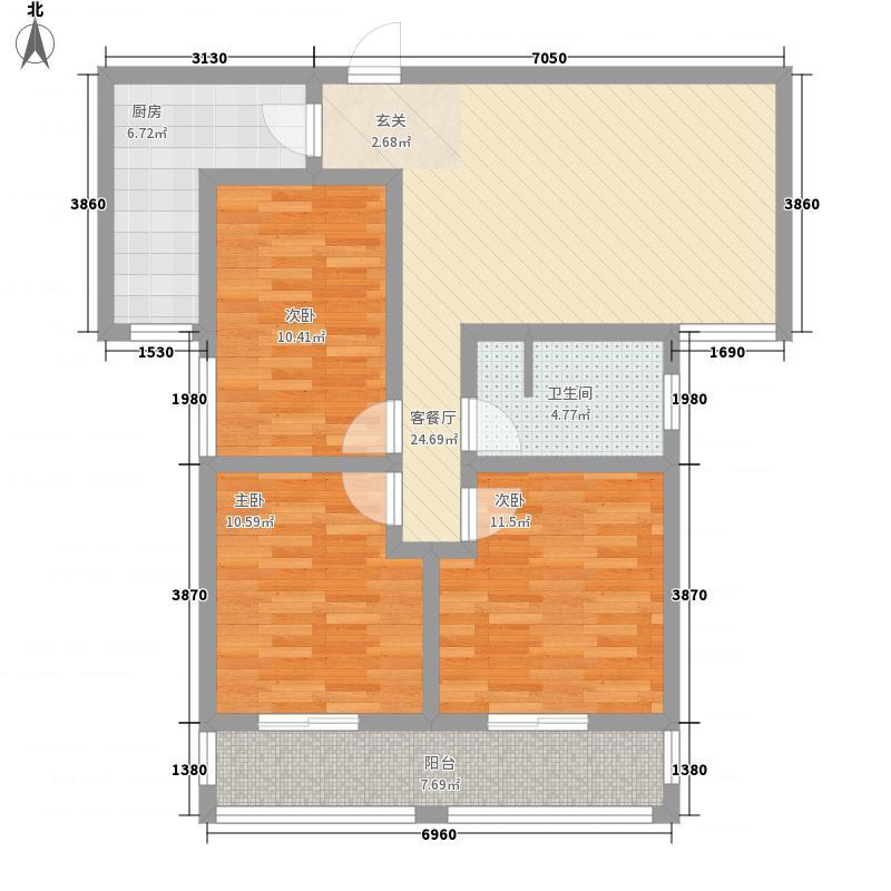东部星城东区112.00㎡13#楼小高层Q2户型2室2厅1卫1厨