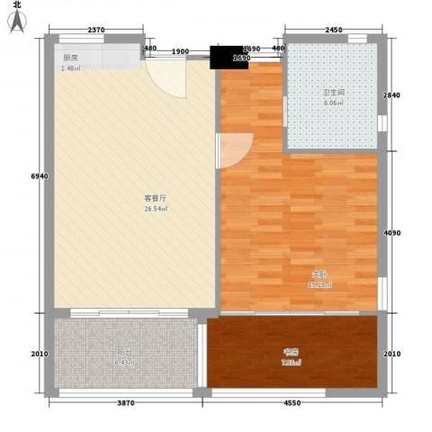 中信庐山西海2室1厅1卫0厨92.00㎡户型图