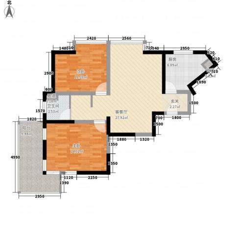 汇豪国际公寓2室1厅1卫1厨103.00㎡户型图