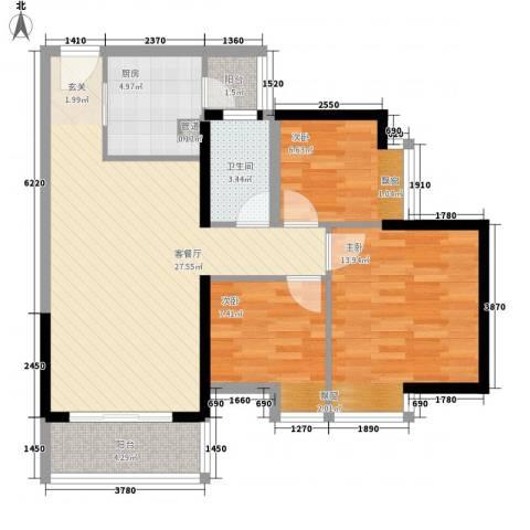 佳兆业水岸华都3室1厅1卫1厨88.00㎡户型图