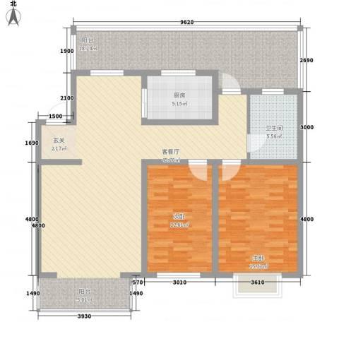 心海阳光2室1厅1卫1厨107.00㎡户型图