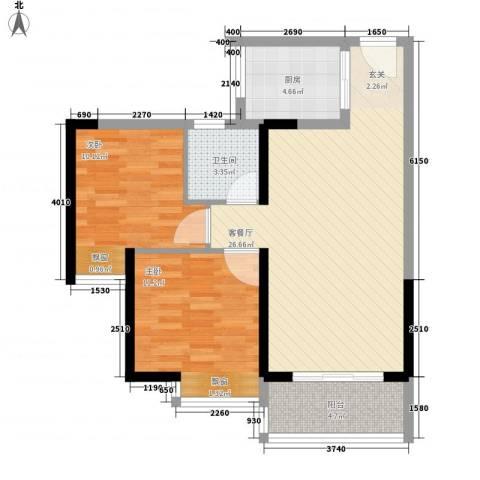 佳兆业水岸华都2室1厅1卫1厨77.00㎡户型图