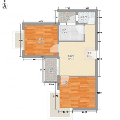 汇豪国际公寓2室1厅1卫1厨55.00㎡户型图