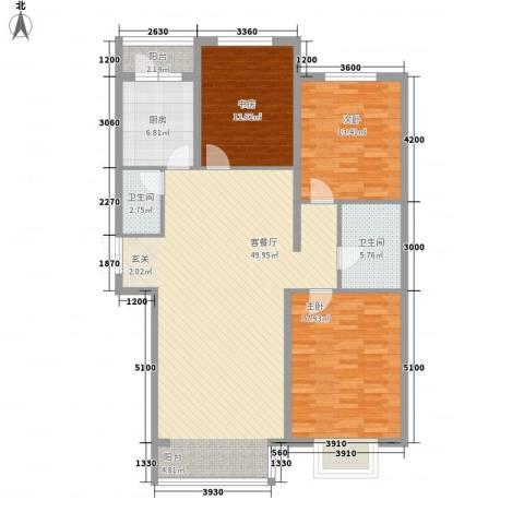 心海阳光3室1厅2卫1厨145.00㎡户型图