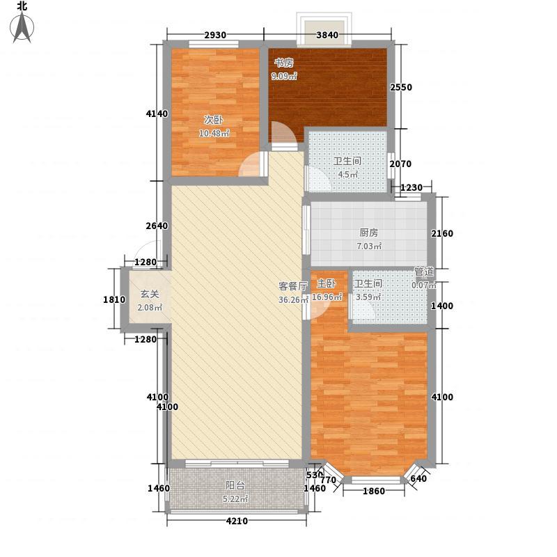 金九华府A4-2型户型3室2厅2卫1厨