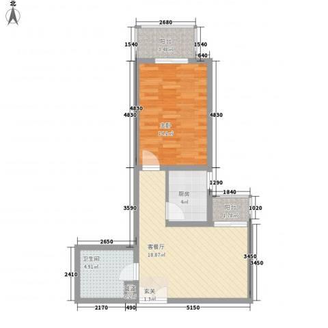 汇豪国际公寓1室1厅1卫1厨69.00㎡户型图