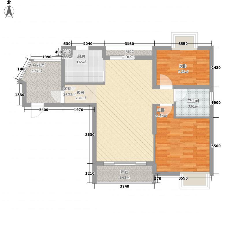 香江花城一期40#楼高层2层C户型2室2厅1卫1厨