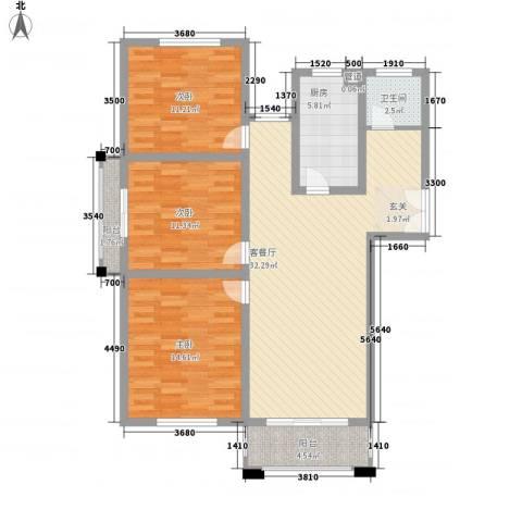 润泽东都二期宽域3室1厅1卫1厨121.00㎡户型图
