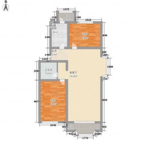 雅龙骑仕二期2室1厅1卫1厨99.00㎡户型图
