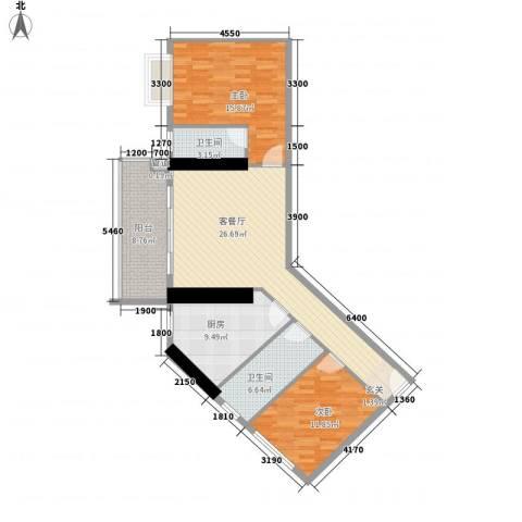 五邑锦绣豪庭2室1厅2卫1厨82.62㎡户型图