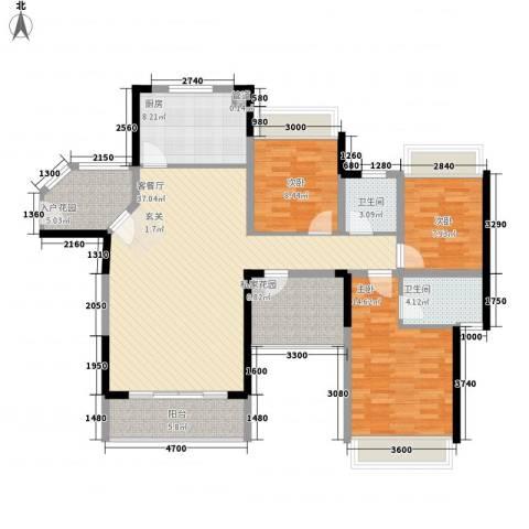 金桂华府3室1厅2卫1厨134.00㎡户型图