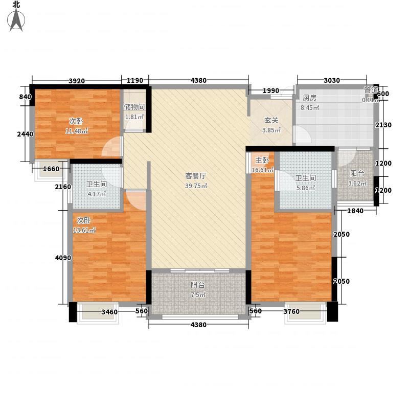 国际社区海悦府13.00㎡一期10号楼4号房户型3室2厅2卫1厨