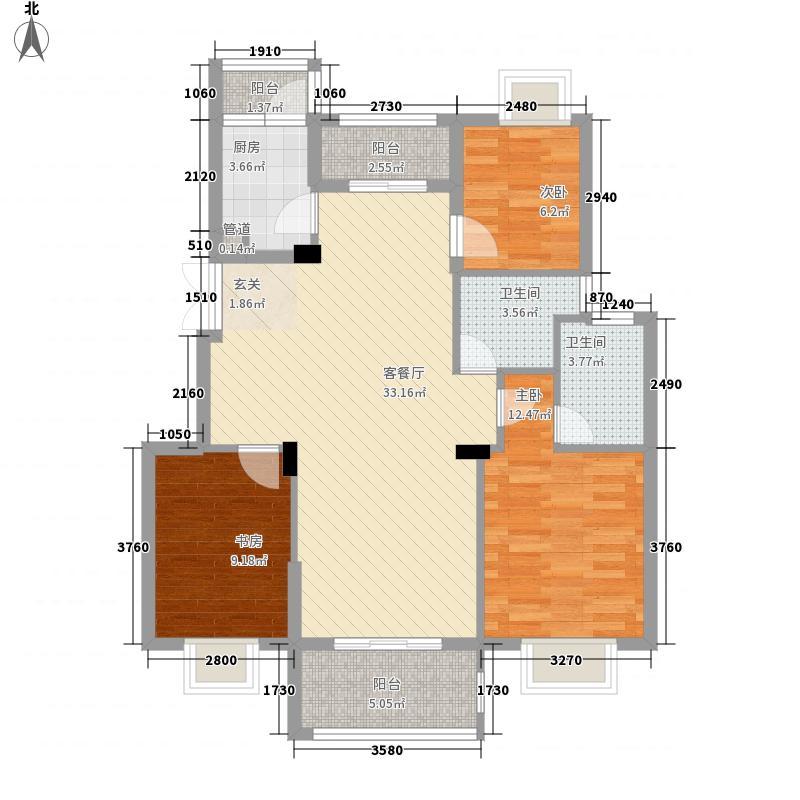 金盛富汇半岛116.00㎡5号楼L户型3室2厅2卫1厨