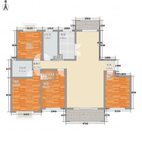 绿地国际花都4室1厅2卫1厨163.00㎡户型图