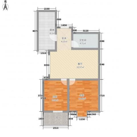 滨河城・左岸2室1厅1卫1厨70.11㎡户型图
