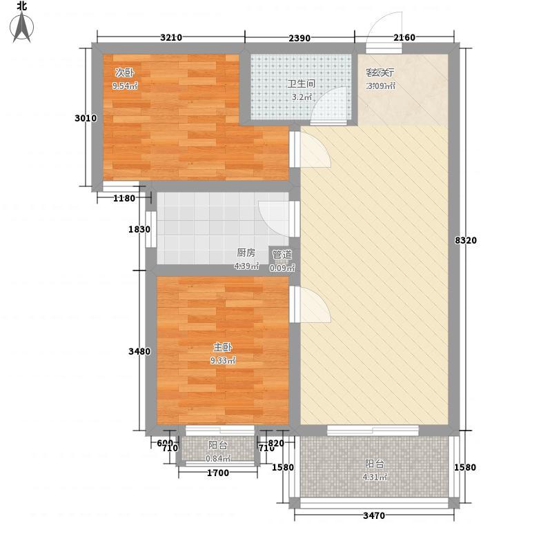 厚丰康城82.10㎡1#B户型2室2厅1卫1厨