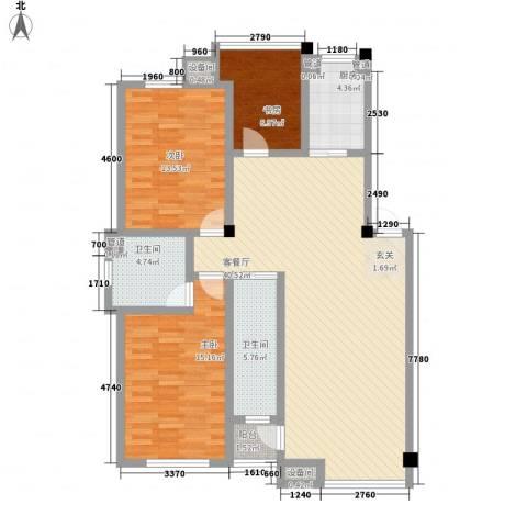 咖啡小镇3室1厅2卫1厨123.00㎡户型图