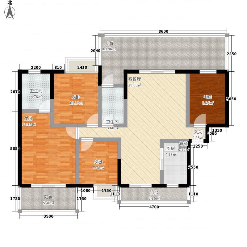 桐洋新城138.25㎡9#C2户型4室2厅1卫1厨