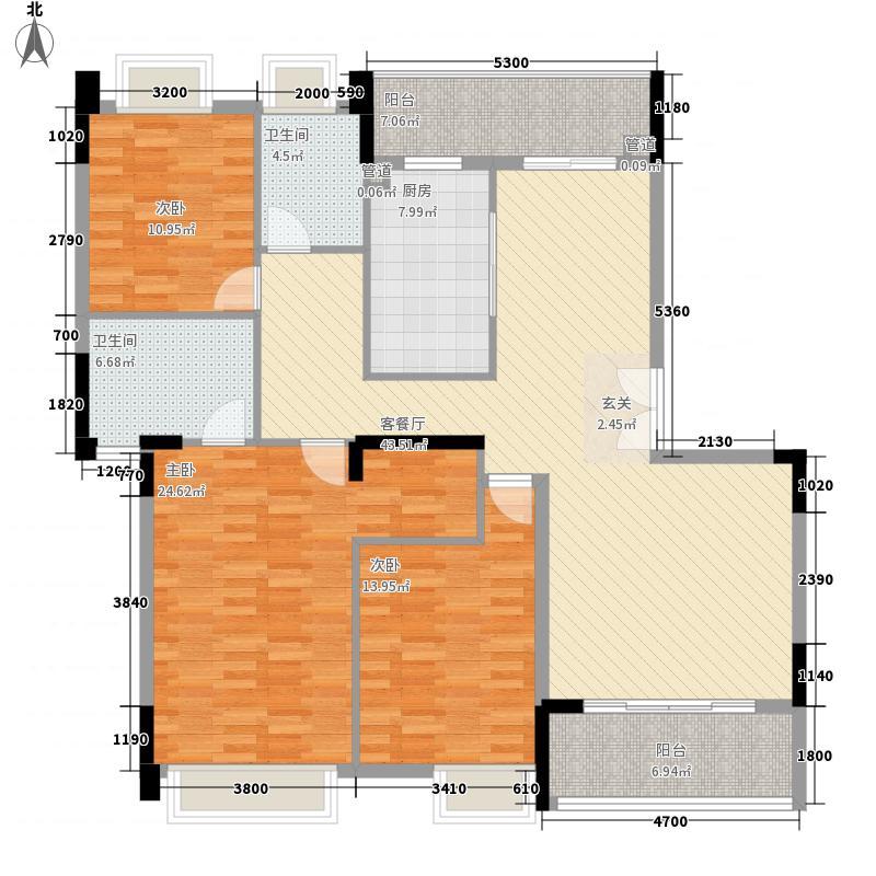 宝嘉誉峰157.51㎡2#户型3室2厅2卫1厨