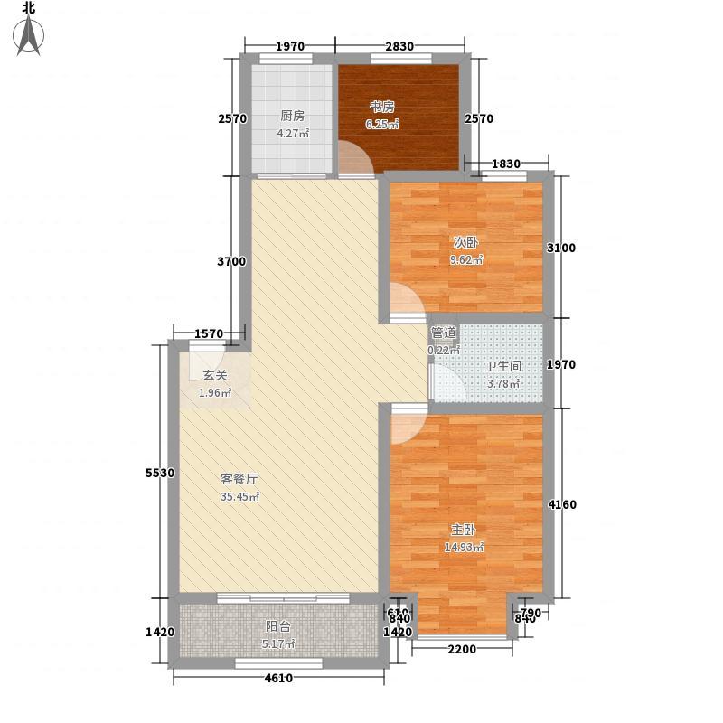 建工佳苑113.00㎡E户型3室2厅1卫1厨