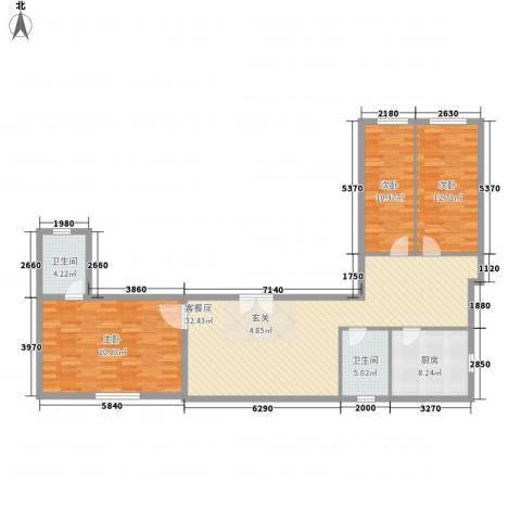 凤航大厦3室0厅2卫1厨142.00㎡户型图