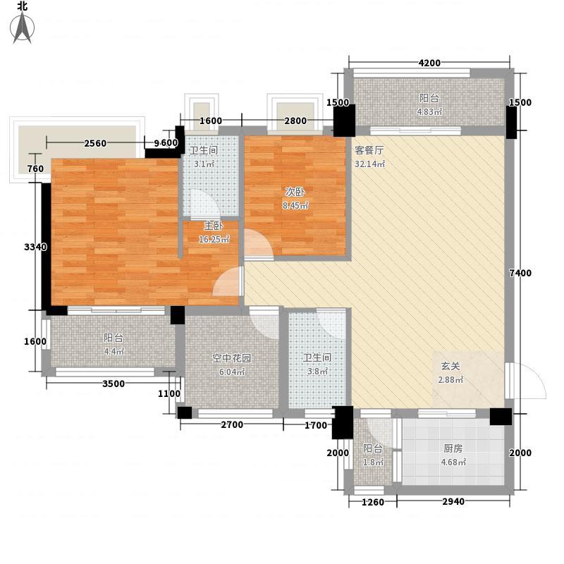 江林・海岸13.22㎡1栋标准层01/04户型2室2厅2卫1厨