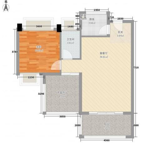 丽城水苑1室1厅1卫1厨74.00㎡户型图